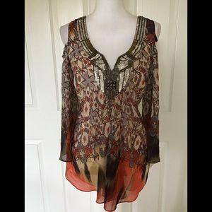bebe cold shoulder heavily sequined blouse S